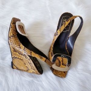 Roger Vivier Shoes - Roger Vivier Snakeskin Buckle Wedge Sandals